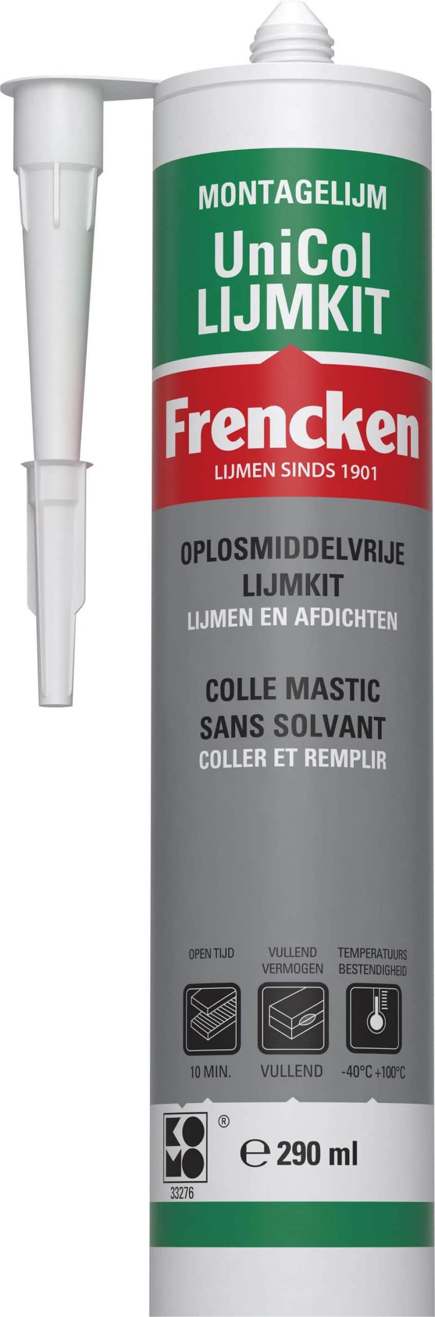 witte lijmkit van unicol in fles van 290 ml